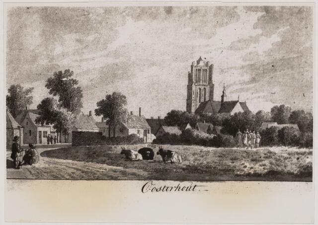 104320 - Tekening. Oost-Indische inkttekening van een gezicht op Oosterhout door Th Travenier (1734-1807)