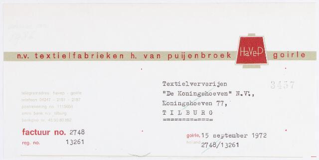 """056275 - Briefhoofd. Briefhoofd N.V. Textielfabrieken H. van Puijenbroek, """"Havep"""", Goirle."""