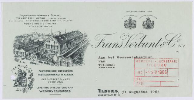 061309 - Briefhoofd. Nota van Frans Verbunt & Co, Langestraat 13 voor de gemeente Tilburg