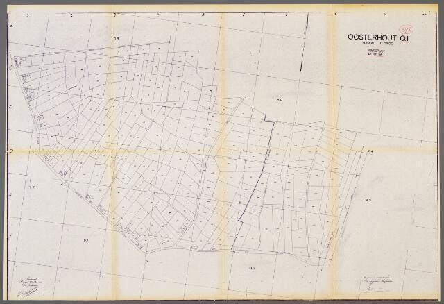 104955 - Kadasterkaart. Kadasterkaart / Netplan Oosterhout. Sectie Q1. Schaal 1: 2.500.