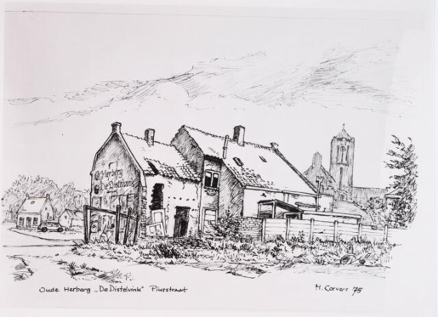 028798 - Tekening. Piusstraat. Herberg De DistelvinkDoor H.Corvers.