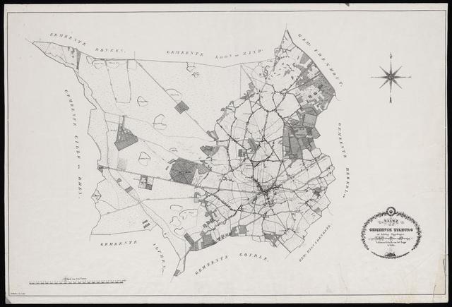 """653427 - """"Kaart van de gemeente Tilburg uit achting opgedragen aan Z.K.H.den Prins van Oranje Veldmaarschalk van het Leger te Velde."""" Zwart-wit. originele schaal 1:20.000. Auteur J.F Hutten"""