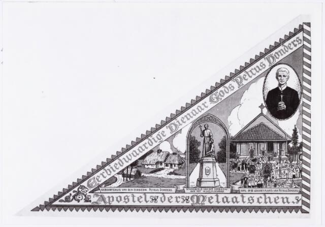 006789 - Litho. Gelithografeerde bedevaartvaantje van de ´Eerbiedwaardige Dienaar Gods Petrus Donders, Apostel der Melaatschen´, c.a. 1930. Afgebeeld zijn het geboortehuis, kapel, standbeeld aan het Wilhelminapark en het portret van Petrus Donders.
