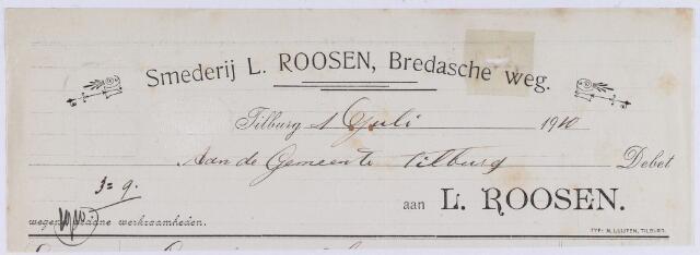 061006 - Briefhoofd. Nota van Smederij L. Roosen, Bredasche weg voor de gemeente Tilburg