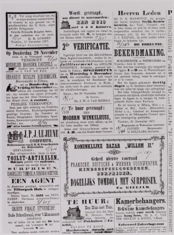 040773 - Reclame Advertenties uit de Tilburgse Courant van 22 november 1877. Enige namen: H.H. Lommen, J. van de Pas, Gerardus Rudolph Buddemeijer, J.P.J. Lejeune, Koninklijke Bazar Willem II Ed Gieliam, N.K. Harmonie J.J. Krever.