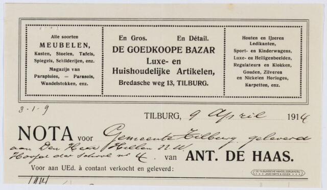 060221 - Briefhoofd. Nota van Ant de Haas, de goedkoope Bazar, Bredascheweg 13, voor de gemeente Tilburg