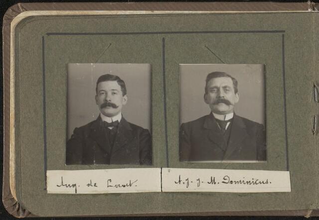 603966 - Links Aug. de Laat, rechts A.J.J.M. Dominicus. Albumblad met zogenaamde TipTop-pasfoto´s van het personeel van de gemeentesecretarie van Tilburg, omstreeks 1916.