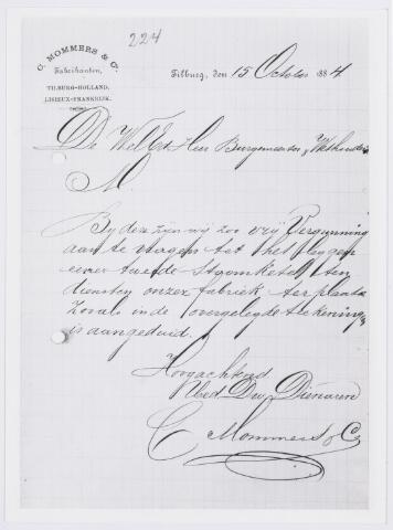 037935 - Textiel. Aanvrage van fabrikant Christiaan Mommers van 15 oktober 1884 om een vergunning voor het plaatsen van een tweede stoomketel in zijn fabriek