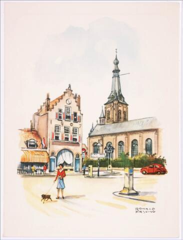 036122 - Stadhuisplein.   R.K. Kerk 't Heike