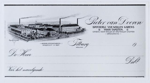 059955 - Briefhoofd. Briefhoofd van Pieter van Dooren, Spinnerij van Wollen garens voor tapijten