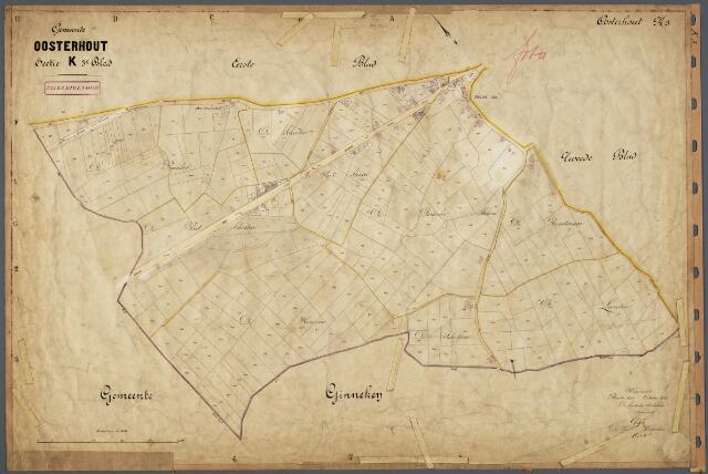 104801 - Kadasterkaart. Kadasterkaart  Oosterhout Sectie K3, Schaal 1 : 2.500