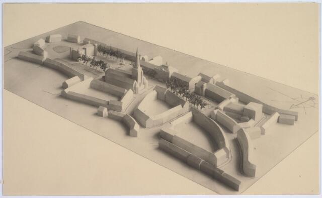 026273 - Maquette van de situering van de Stadsschouwburg in het doorbraakplan Bredaseweg-Paleisstraat