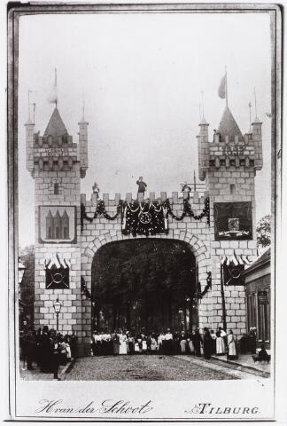 034899 - Jubileum. Muziek. De stadpoort gemaakt ter gelegenheid van het 50 jarig bestaan van de Koninklijke Harmonie 1843 - 1893, aan de ingang van het Wilhelminapark