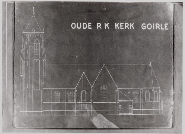 046325 - Tekening. Blauwdruk van de voormalige kerk van St. Jan Onthoofding.
