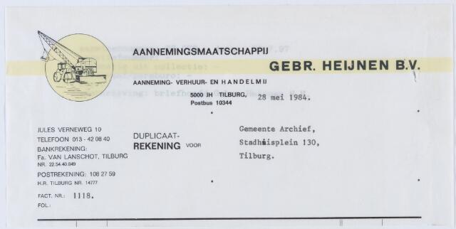 060286 - Briefhoofd. Nota van Gebr. Heijnen B.V., aanneming-, verhuur- en handelmij, Bosscheweg 209-211, voor Gemeente Archief, Stadhuisplein 130