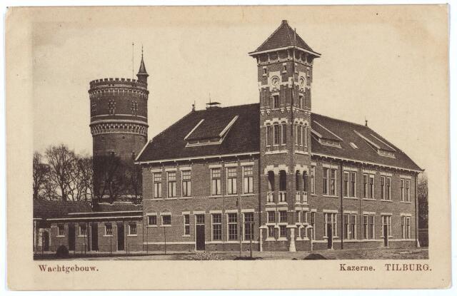 000203 - Wachtgebouw van de Generaal Kromhout kazerne aan de Bredaseweg. Op de achtergrond de watertoren.