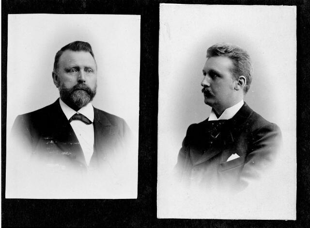 048583 - Cornelis van den Muijsenbergh (links) en zijn zoon Hubertus Abraham van den Muijsenbergh (rechts). Hubertus Abraham werd geboren te Tilburg op 10 januari 1873 als zoon van voornoemde Cornelis van den Muijsenbergh en Anna Wilhelmina Herculeijns. Hij trouwde te Breda in 1903 met Anna Carolina Victorine Spaapen geboren te Breda op 27 oktober 1878 en overleden te 's-Gravenhage op 25 maart 1967. Hubertus wordt in 1900 genoemd als zeepfabrikant. Na de dood van zijn vader nam hij de ijzerhandel aan de Zomerstraat over. In 1917 verhuisde hij met zijn gezin naar Den Haag. Hij overleed in het ziekenhuis te Voorburg op 8 januari 1945. In Tilburg was hij secretaris van het bestuur van de Tilburgsche Wielerbaan.