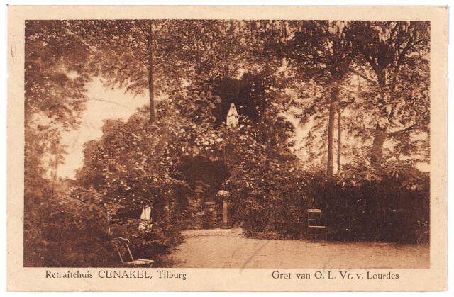 001448 - Lourdesgrot in de tuin van het retraitehuis en klooster van O.L.V. van het Cenakel aan de Koningshoeven, thans Kempenbaan.