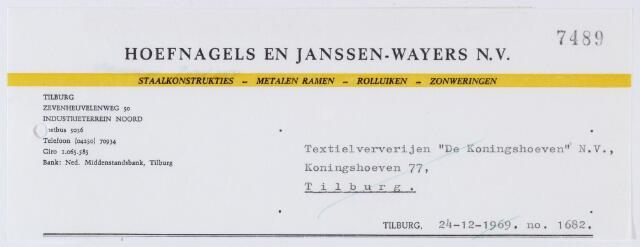 """060301 - Briefhoofd. Nota van A.C. Hoefnagels + Janssen-Wayers BV, Staalconstructie-metalen ramen rolluiken en zonweringen, Zevenheuvelenweg 50 voor Textielververijen """"De Koningshoeven"""" N.V., Koningshoeven 77"""