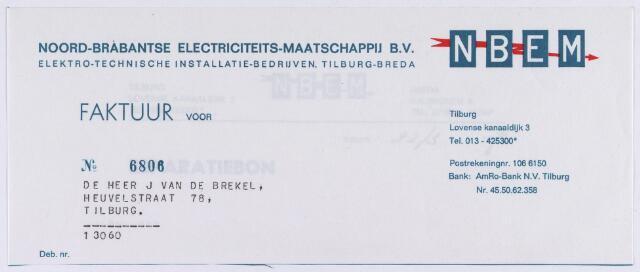 060828 - Briefhoofd. Nota van Noord-Brabantse Electriciteits-Maatschappij B.V. (N.B.E.M.), Lovense Kanaaldijk 3 voor de heer J. van de Brekel, Heuvelstraat 78