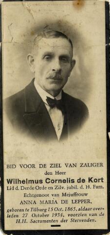 092284 - Wilhelmus Cornelis de Kort, geboren te Tilburg op 15 oktober 1865, overleed aldaar op 27 oktober 1934. Hij trouwde met Anna Maria de Lepper.Hij was een zoon van dagloner  Francis de Kort x Maria Anna Kerkhof.