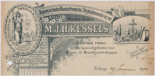 060442 - Briefhoofd. Briefhoofd van M.J.H. Kessels, Artistieke fabrikatie van koperen en houten blaasinstrumenten, strijkinstrumenten enz. enz.