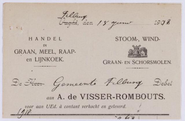 061349 - Briefhoofd. Nota van A de Visser-Rombouts, handel in graan, meel, raap- en lijnkoek voor de gemeente Tilburg