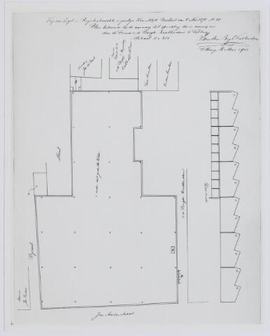 037516 - Textiel. Plattegrond en doorsnede behorende bij de aanvraag tot oprichting van een weverij door Van den Bergh en Krabbendam (Beka) uit 1903. Deze afdelingen werden ondergebracht in de voormalige Lancierskazerne