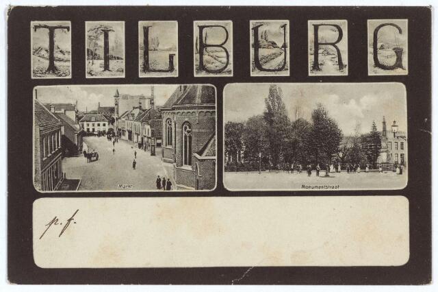 003124 - Links de Markt met de kerk van het Heike, rechts de Markt met geheel rechts, op de hoek de Paleisstraat het gedenkteken voor koning Willem II.