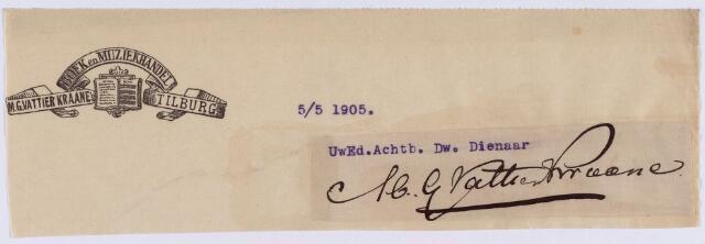 061279 - Briefhoofd. Briefhoofd van Boek en Muziekhandel M.G. Vattier Kraane