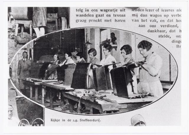 039599 - Firma L.W. van Delft kinderwagenfabriek aan de Telegraafstraat no. 31. afd. stoffeerderij.  Reproductie uit Brabantse Illustratie