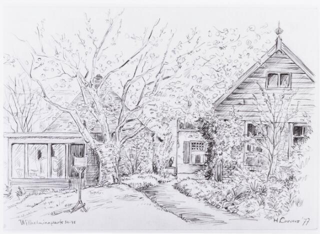 034895 - Tekening. huis en tuin familie SchijnsDoor H.Corvers.