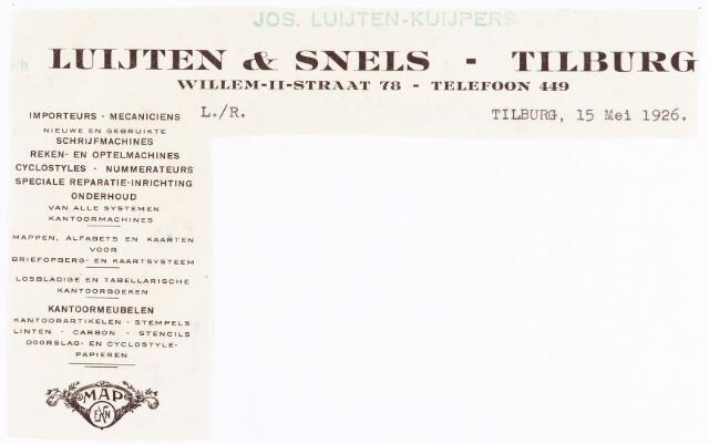 060613 - Briefhoofd. Briefhoofd van Jos Luijten- Kuijpers voorheen Luijten & Snels - Tilburg, Willem-II-straat 78