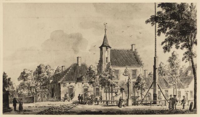 103467 - Tekening. Oud gemeentehuis / stadhuis.