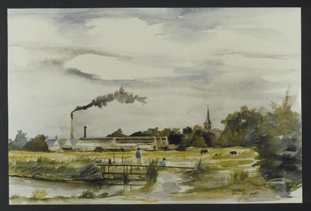 """072177 - Aquarel. Frater Paschalius """"Goirle in aquarel"""". Op de voorgrond de Vloed met riviertje de Leij. Op de achtergrond de textielfabriek van de firma Van Puijenbroek."""