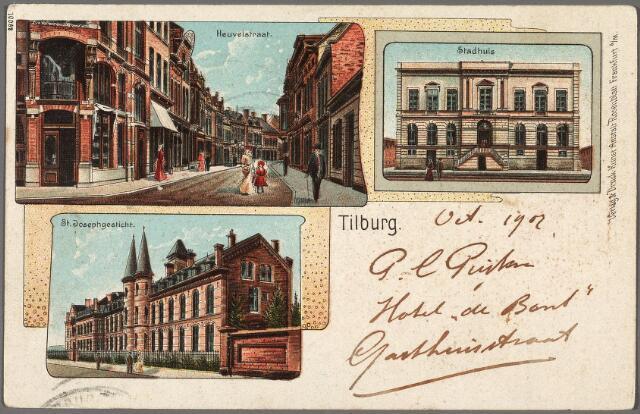 010271 - Bovenaan de Heuvelstraat op de hoek met de Willem II-straat en het voormalige gemeentehuis. Onder het St. Josephgesticht aan de Lange Nieuwstraat.