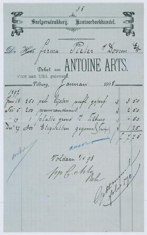 059500 - Briefhoofd. Rekening van Snelpersdrukkerij. Kantoorbeohandel Antoine Arts voor Pieter van Dooren