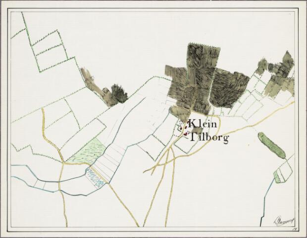 krnt_14 - Kaart. Detail van de manuscriptkaart van de heerlijkheid Tilburg en Goirle uit 1760 van de hand van Diederik Zijnen.  Nagetekend door L. Langeweg, ingekleurd door R. Peeters.