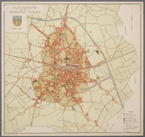 059445 - Kaart. Plattegrond van de gemeente Tilburg, 1921. (schaal 1:7500)