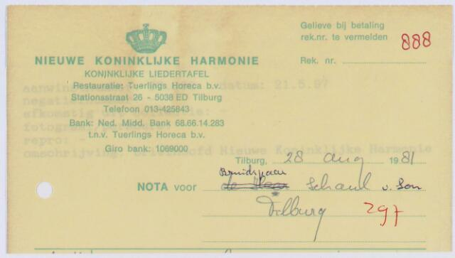 060817 - Briefhoofd. Nota van Nieuwe Koninklijke Harmonie, Stationsstraat 26 voor bruidspaar Schaul-v.Son te Tilburg