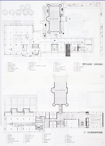 032690 - Tekening. Tekeningen van het in 1969 nog te bouwen gemeentelijk administratiegebouw aan het Stadhuisplein 130, met name alle platte gronden van alle verdiepingen