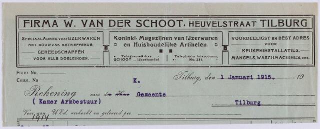 061071 - Briefhoofd. Nota van Firma W. van der Schoot, Koninklijke magazijnen van Ijzerwaren, Heuvelstraat 56 voor de gemeente Tilburg