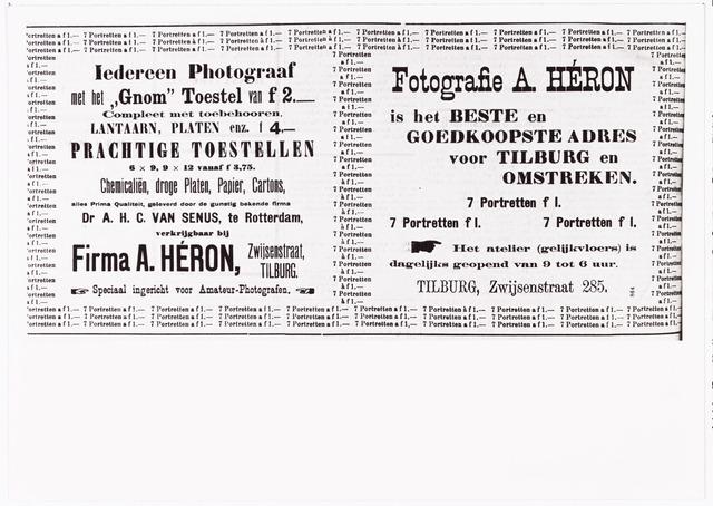 008467 - Advertentie Fotografie A. Héron (Paul van Wulven en Henri Berssenbrugge) in de ´Tilburgsche Courant´van 9 juni 1901.