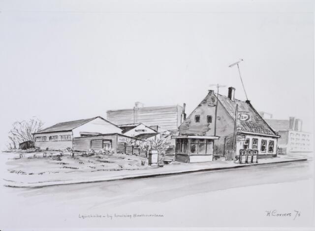 026154 - Tekening. Tekening van H. Corvers van garage Oppermans aan het Lijnsheike