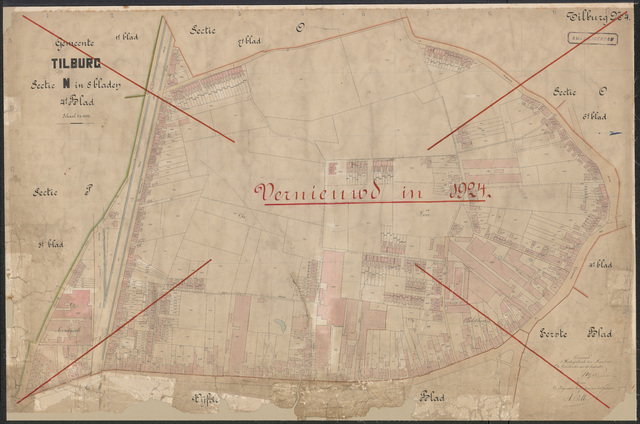 652623 - Kadasterkaart Tilburg, Sectie N (Veldhoven), blad 4. Schaal 1:1000. 1915.