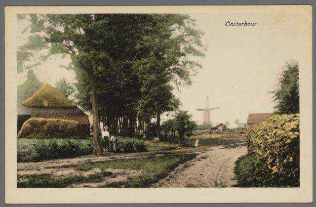 """102861 - Achter de Paulusabdij van de Benedictijnen liep de Monnikendreef in zuidoostelijke richting; links de boerderij van de familie Leemans. Aan de horizon doemt de """"Hooge molen"""" op. Deze was oorspronkelijk in bezit van de Johannieters en is later overgegaan op de heer van Breda; de molen brandde af in 1946"""