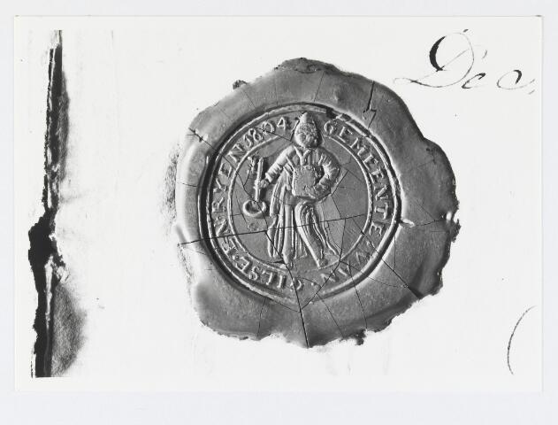 056043 - Lakafdruk het gemeentewapen. Zegel van de gemeente Gilze en Rijen 1804