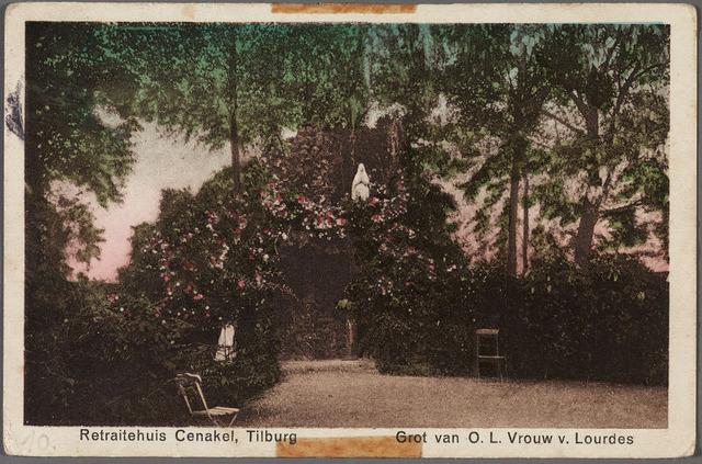 010434 - Lourdesgrot in de tuin van retraitehuis en klooster van O.L.V. van het Cenakel aan de Koningshoeven, thans Kempenbaan.