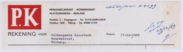 060916 - Briefhoofd. Nota van P.K. Personeelskrant-Woningkrant-Plattegronden- Reklame, voor Tilburgsche Spaarbank, Noordstraat te Tilburg