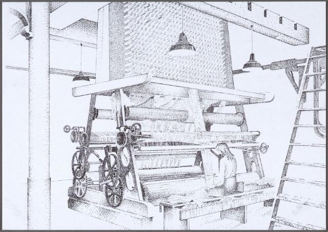 011247 - haut-lisse handknoopweefgetouw bouwjaar circa 1920 in het Nederlands Textielmuseum aan de Goirkestraat